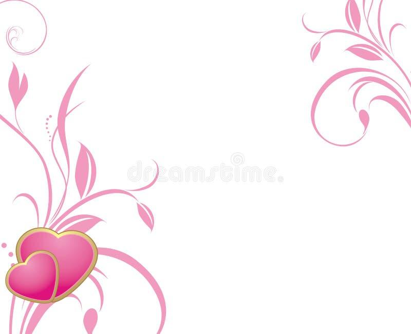 dekoracyjnych serc różowi sprigs dwa ilustracja wektor
