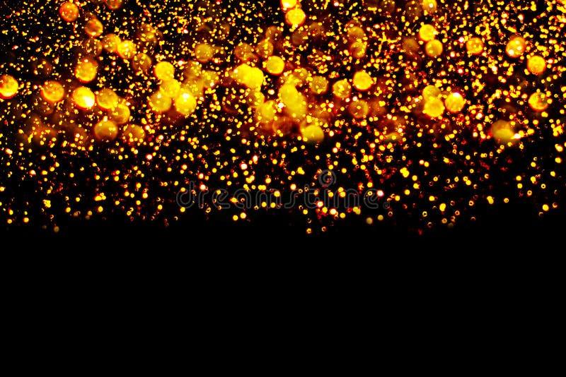 Dekoration des neuen Jahres, Nahaufnahme auf goldenen Hintergründen stockbild