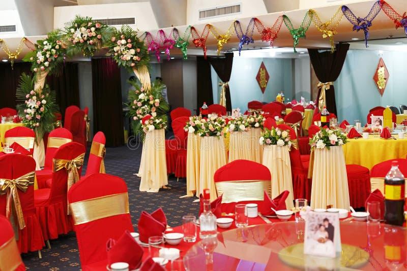 Dekoration im Hochzeitsbankett stockbilder