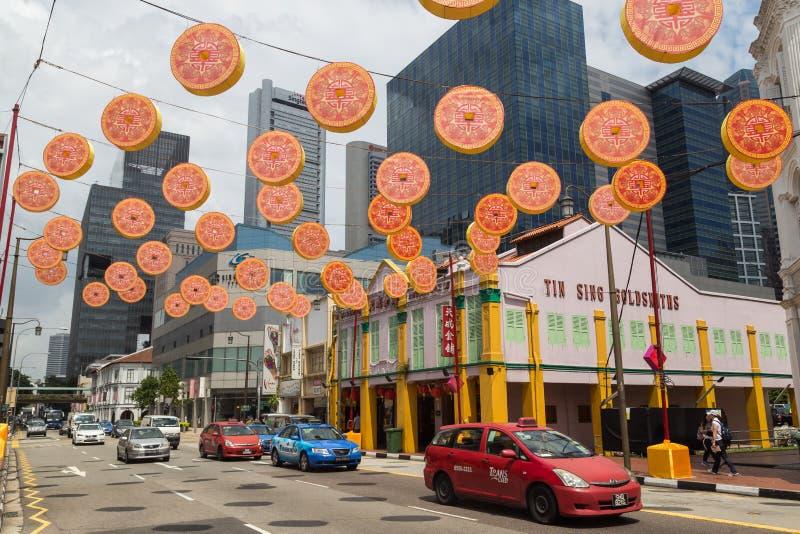 Dekoration Singapur des Chinesischen Neujahrsfests stockfotos