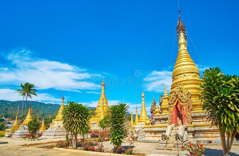 Dekoration von alten stupas von Kan Tu Kyaungs-Kloster, Pindaya, Myanmar lizenzfreie stockfotografie