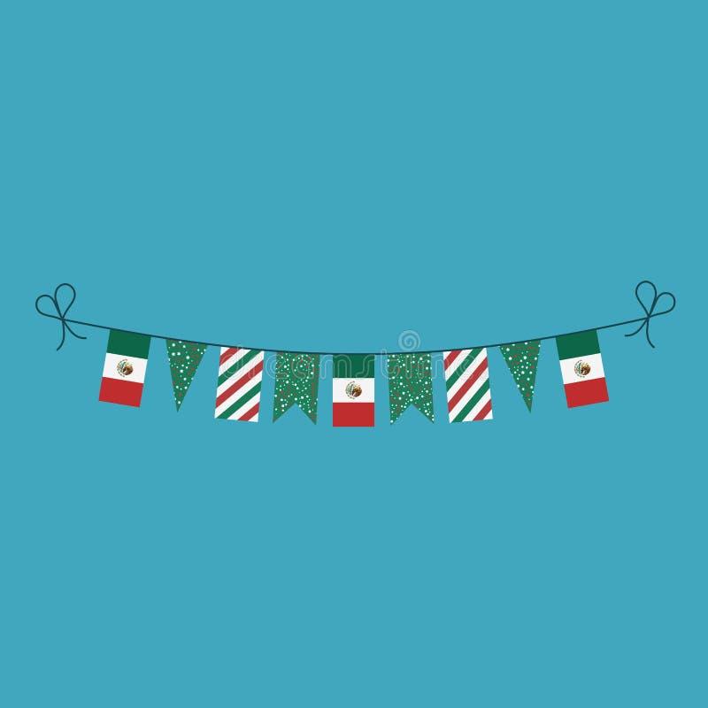 Dekorationen, die Flaggen für Mexiko-Nationaltagfeiertag im flachen Entwurf mit dem Kopfe stoßen vektor abbildung
