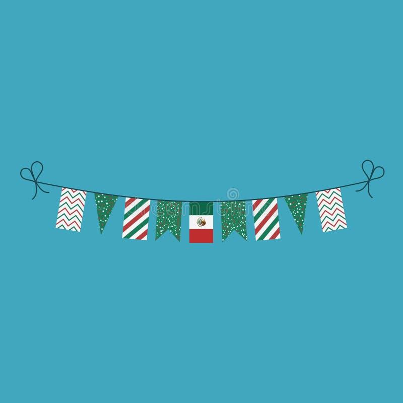 Dekorationen, die Flaggen für Mexiko-Nationaltagfeiertag im flachen Entwurf mit dem Kopfe stoßen stock abbildung