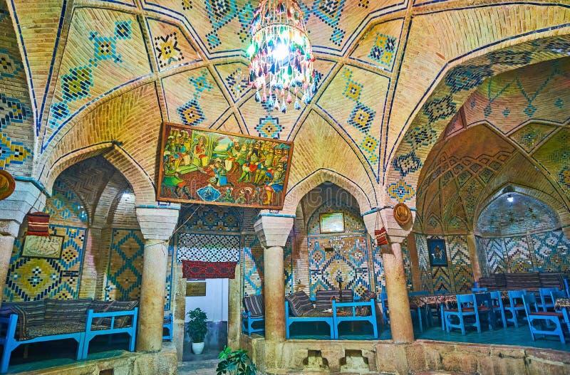 Dekorationen von Vakil-Teehaus, Kerman, der Iran lizenzfreies stockfoto