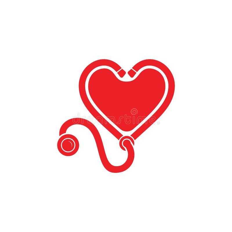 Dekorations-Logovektor des Stethoskopliebesherzens medizinischer lizenzfreie abbildung