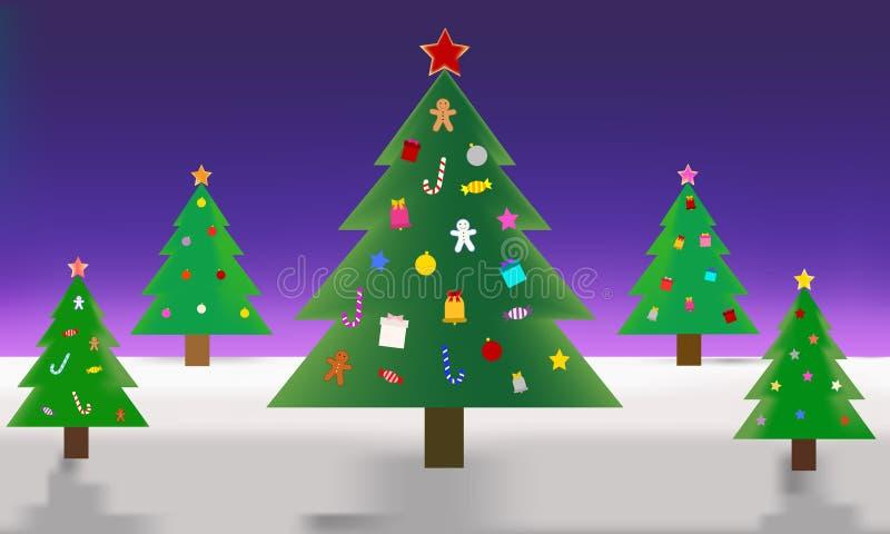 Dekorations-Weihnachtsbaumdesign Illustrationsmuster stockbild