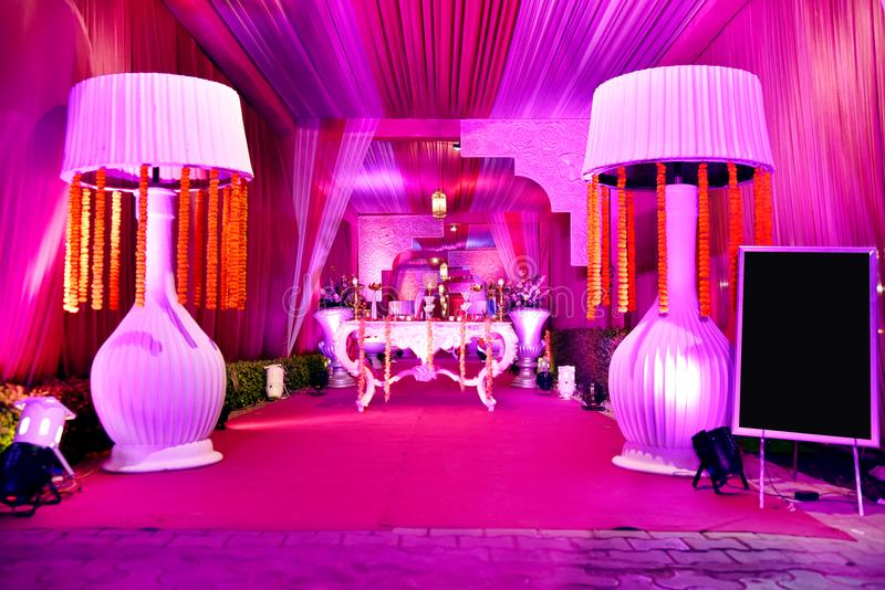Dekorationsansicht in indische Hochzeit stockfotos