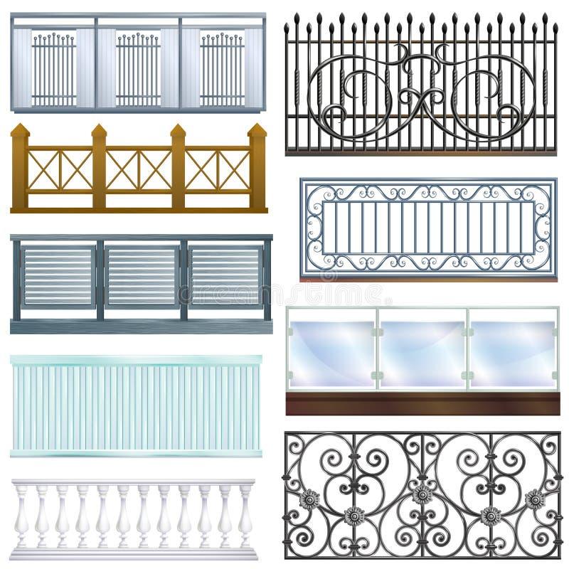 Dekorationsarchitekturentwurfs-Illustrationssatz des Balkongeländervektorweinlesemetallstahlzauns balconied von klassischem stock abbildung