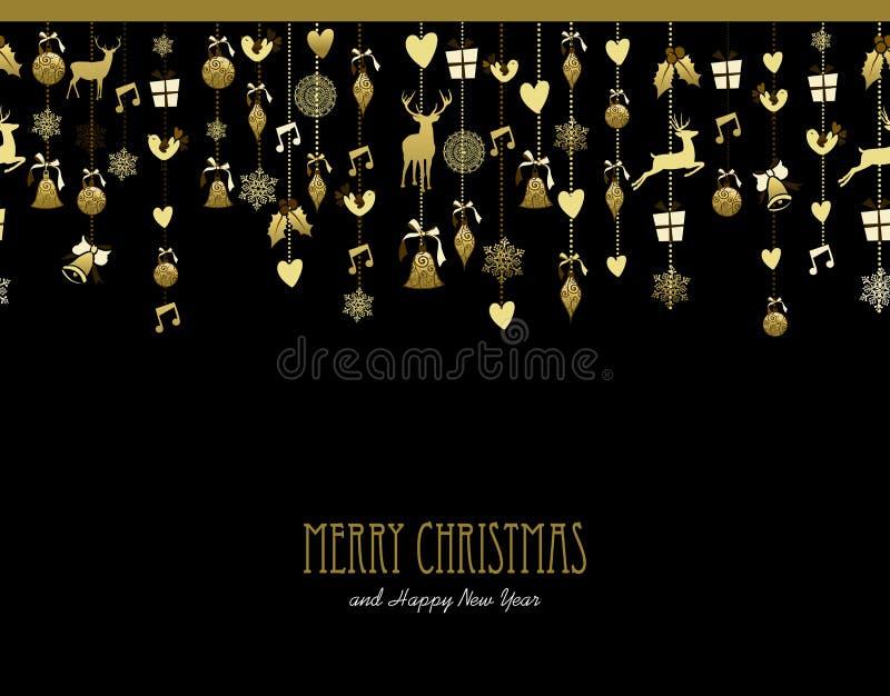 Dekorationsgoldschnee-Rotwildmusik der frohen Weihnachten stock abbildung