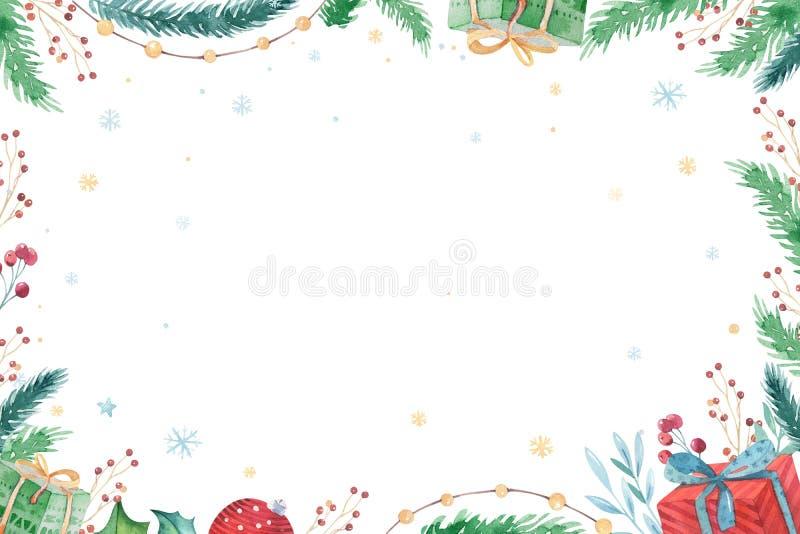 Dekorationswintersatz 2019 der frohen Weihnachten und des guten Rutsch ins Neue Jahr Aquarellfeiertagshintergrund Weihnachtseleme stock abbildung