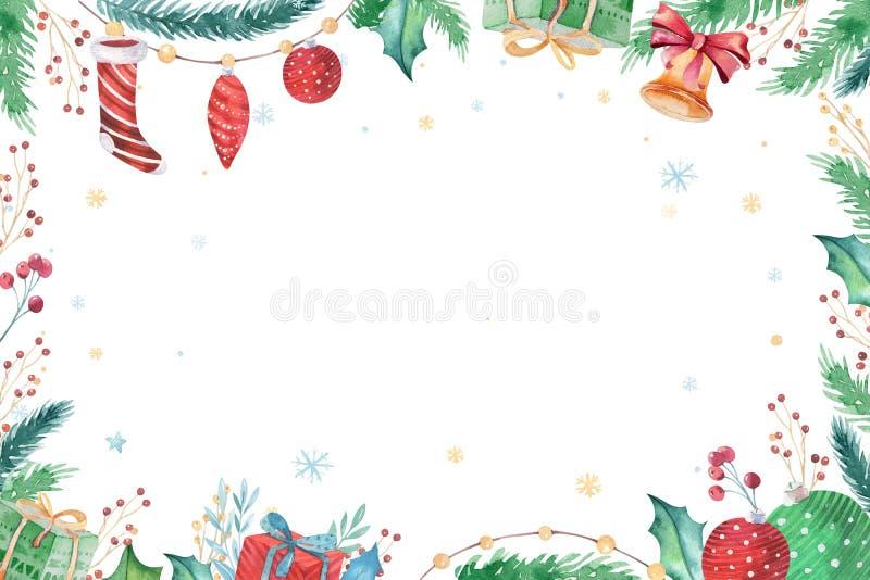Dekorationswintersatz 2019 der frohen Weihnachten und des guten Rutsch ins Neue Jahr Aquarellfeiertagshintergrund Weihnachtseleme lizenzfreie abbildung