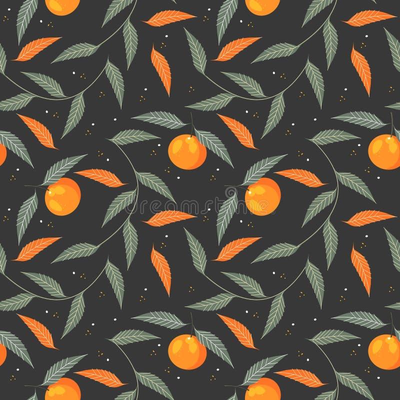 Dekorativ ändlös modell med tangerin och sidor stock illustrationer