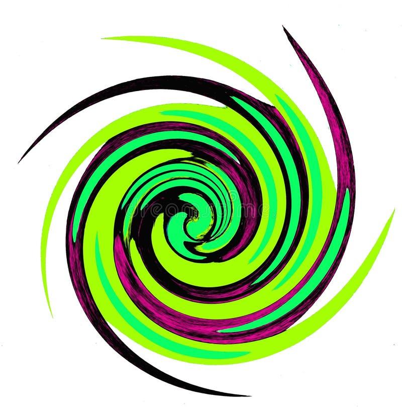 Dekorativ abstrakt begreppspiral i gröna färger vektor illustrationer
