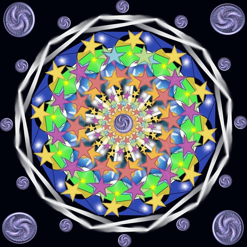 Dekorativ abstrakt Mandala med fem-pekade stjärnor vektor illustrationer
