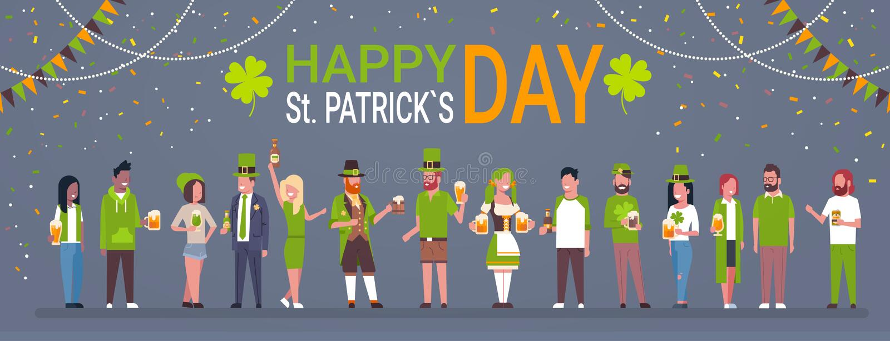 Dekorativ affisch för den lyckliga helgonPatrick Day Horizontal Banner With grupp människor i traditionell irländsk kläder royaltyfri illustrationer