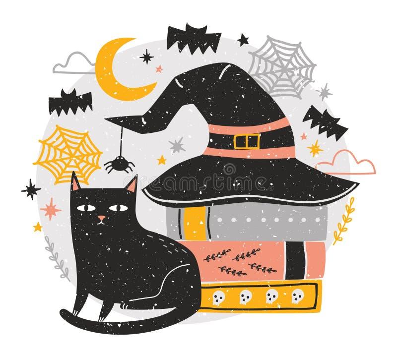 Dekorativ allhelgonaaftonsammansättning med den gulliga svarta katten som sitter bredvid bunten av antika böcker som täckas av hä stock illustrationer