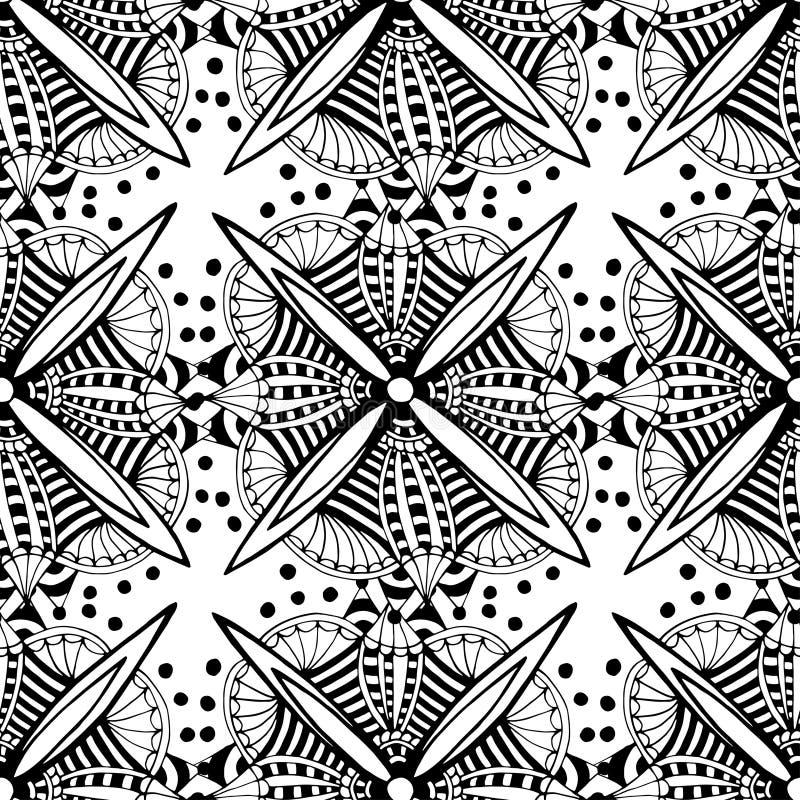 Dekorativ bakgrund för vektor med grafiska blommor för klotter Svartvit etnisk sömlös modell för tyg som slår in vektor illustrationer