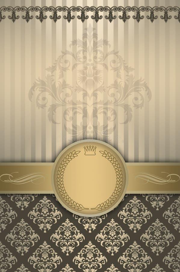 Dekorativ bakgrund med den guld- gränsen, ramen och gammalmodigt p stock illustrationer