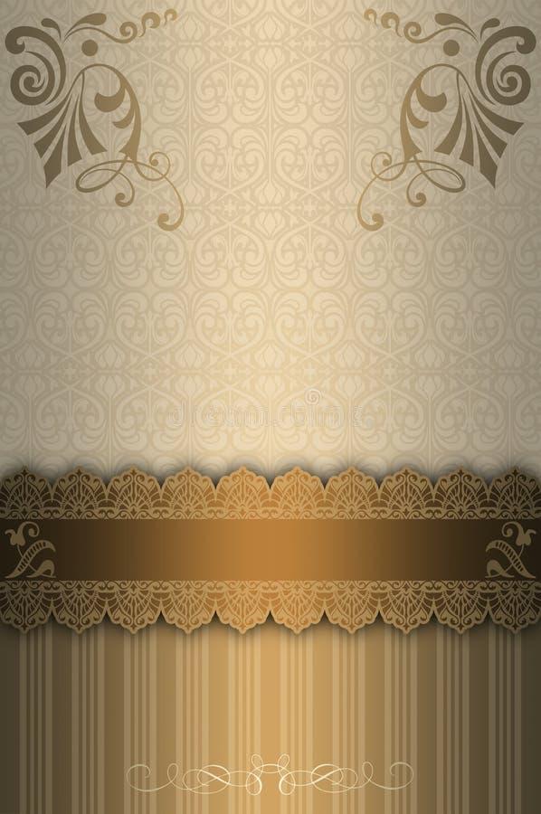 Dekorativ bakgrund med guld- gräns- och tappningmodeller vektor illustrationer