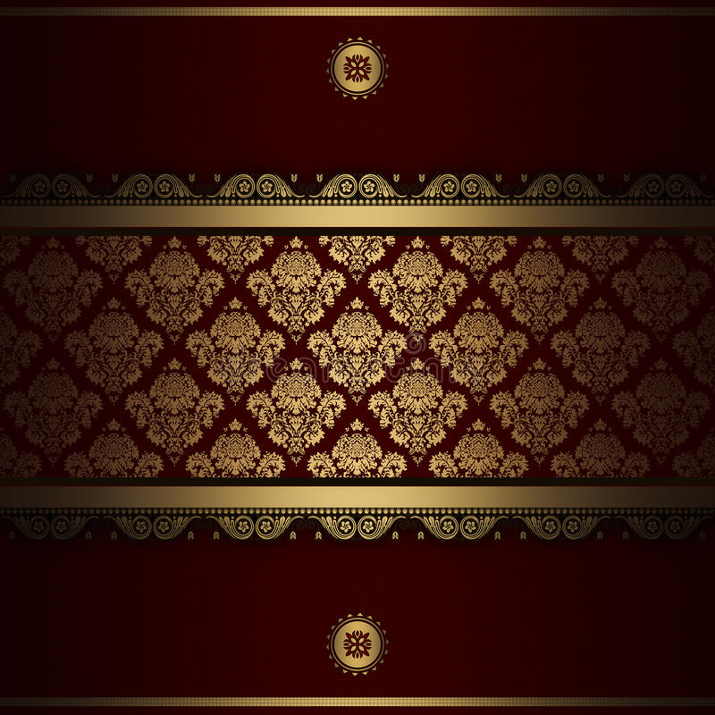 Dekorativ bakgrund med guld- modeller royaltyfri illustrationer