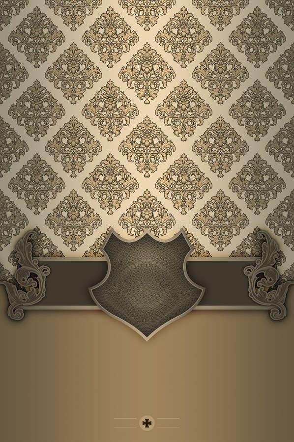 Dekorativ bakgrund med tappninggränsen, den eleganta skölden och klappar stock illustrationer