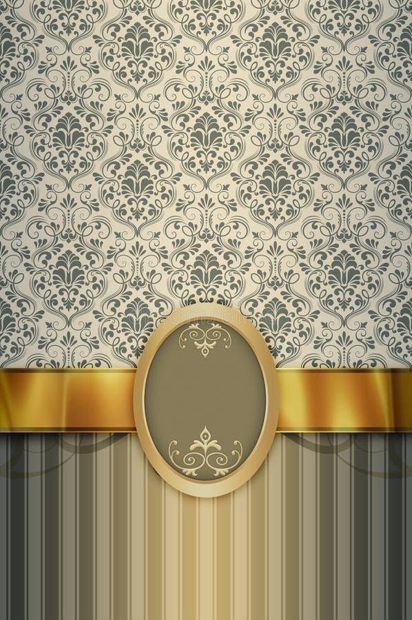 Dekorativ bakgrund med tappningmodeller, det guld- bandet och f royaltyfri illustrationer