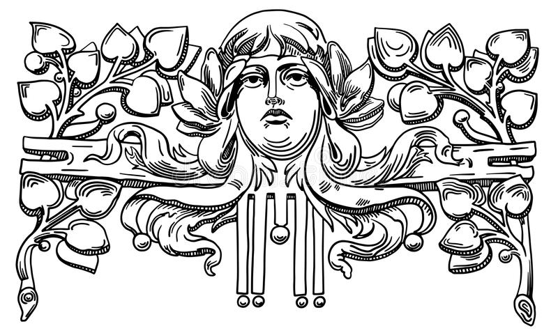 Dekorativ beståndsdel av fasaden av ett historiskt royaltyfri illustrationer