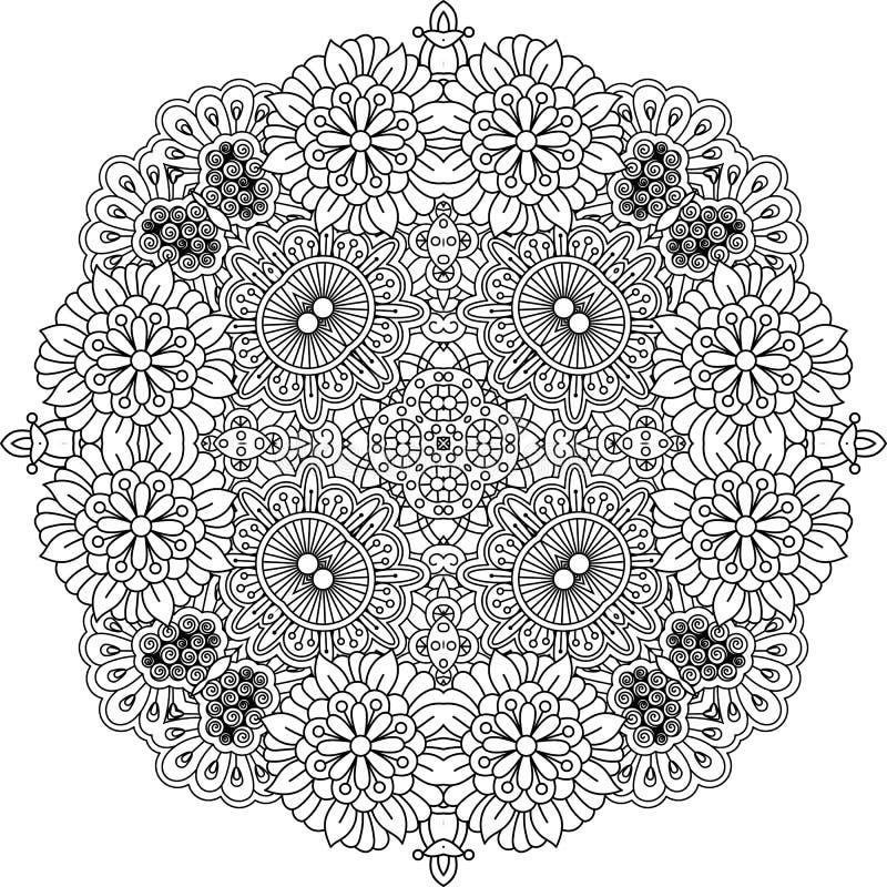 Dekorativ beståndsdel för blom- zentanglerunda royaltyfri illustrationer