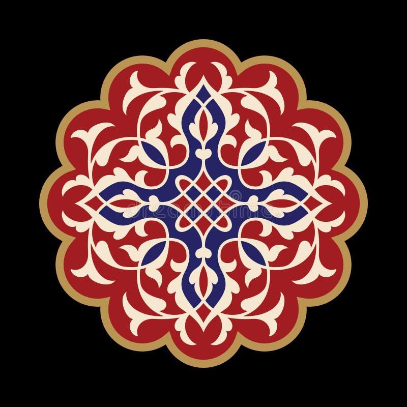 Dekorativ beståndsdel för design dekorativ elementtappning Orientalisk modell, vektorillustration royaltyfri illustrationer