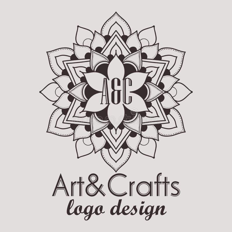 Dekorativ beståndsdel för etnisk logotyp tecknad hand royaltyfri illustrationer