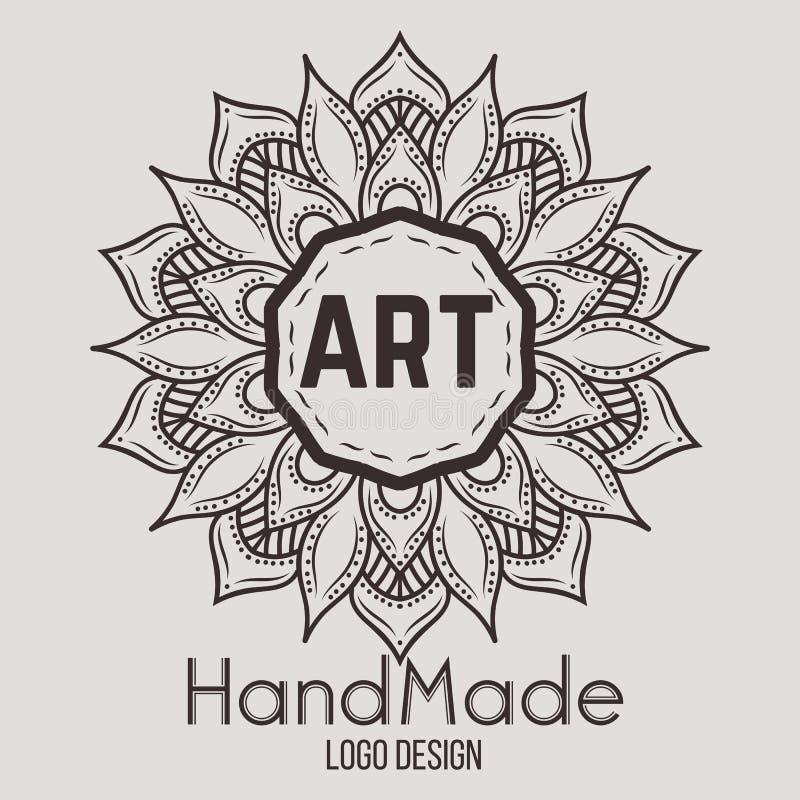 Dekorativ beståndsdel för etnisk logotyp tecknad hand stock illustrationer