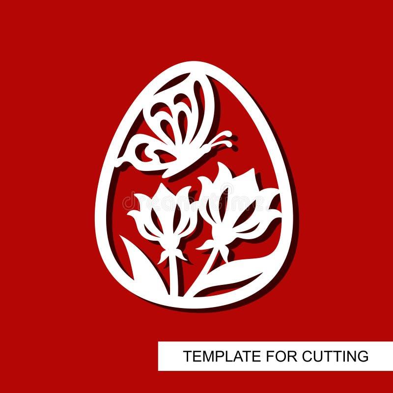 Dekorativ beståndsdel - påskägg med den blom- prydnaden och fjärilen royaltyfri illustrationer