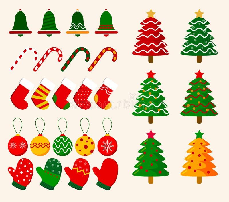 Dekorativ beståndsdelvektor för jul Jul smyckar samlingar vektor illustrationer