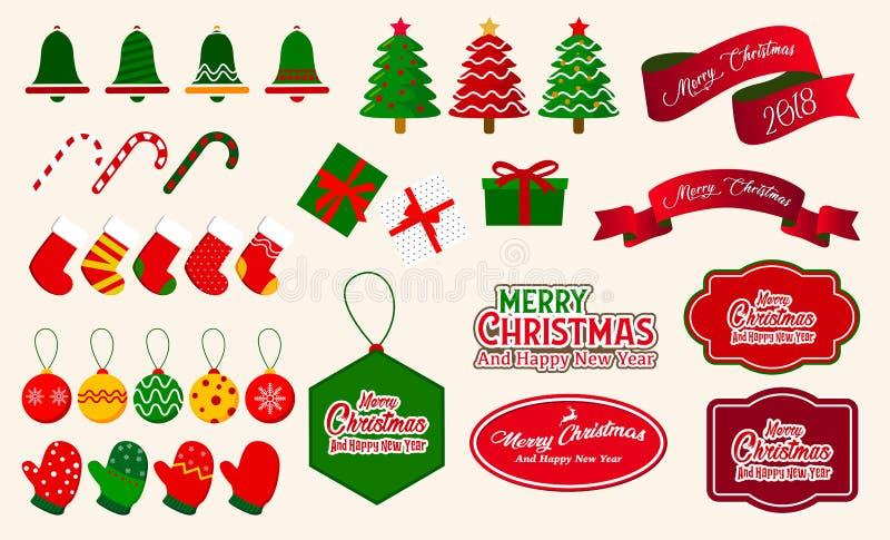 Dekorativ beståndsdelvektor för jul Jul smyckar samlingar stock illustrationer