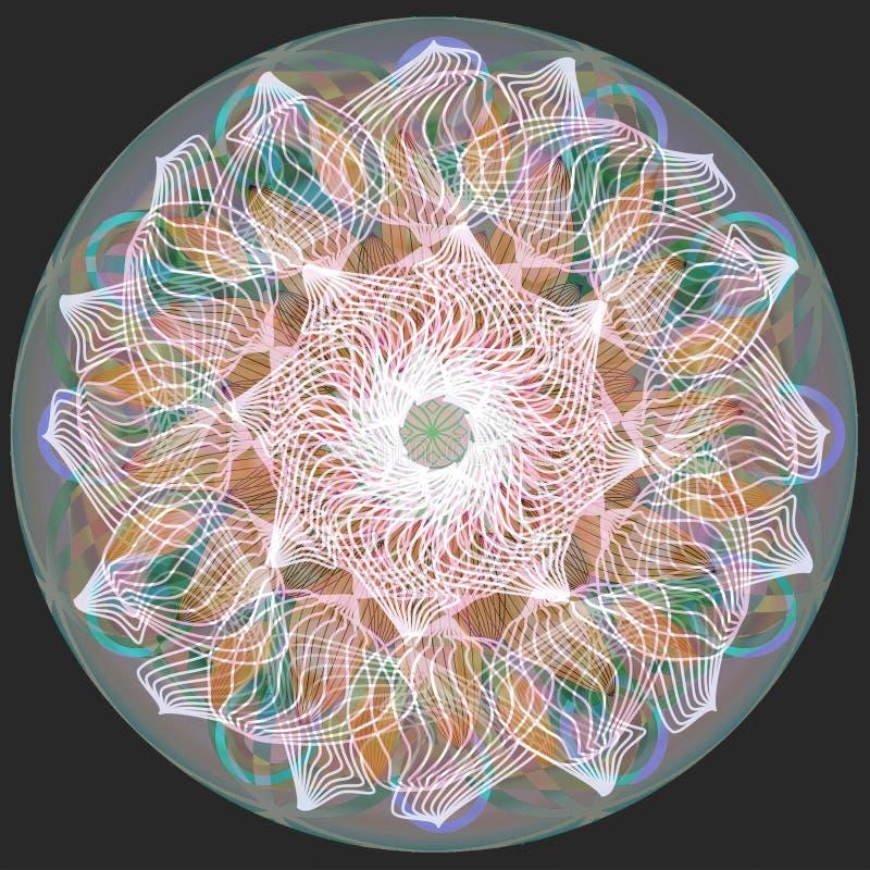 Dekorativ best?ndsdel f?r design Linj?r design Vanlig svart bakgrund CENTRAL BLOMMA I VITT, GRÅTT, BLÅTT, BRUNT, PURPURFÄRGAT vektor illustrationer