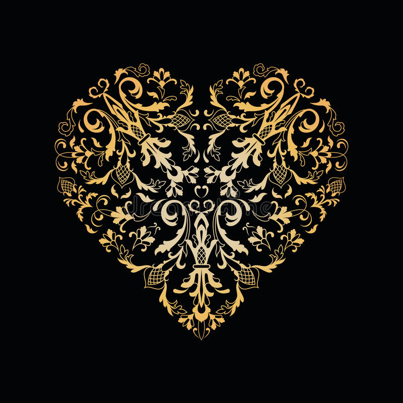 Dekorativ blom- hjärta tappning för stil för illustrationlilja röd royaltyfri illustrationer