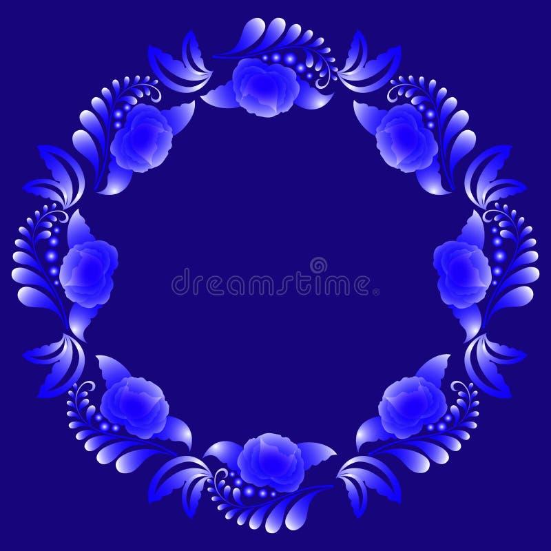 Dekorativ blom- krans i vita signaler för blått och på ett mörker - blå bakgrund vektor illustrationer