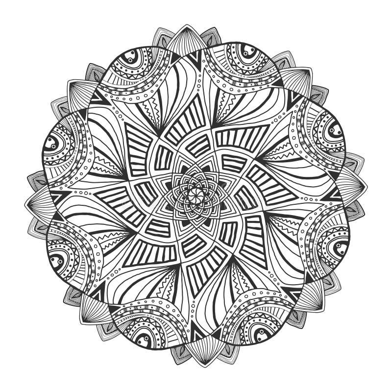Dekorativ blom- mandala Den dekorativa prydnaden mönstrar Vektor för vuxen färgläggningsida eller garnering idérik interior vektor illustrationer