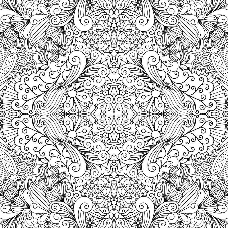 Dekorativ blom- modell för symmetrisk översikt royaltyfri illustrationer