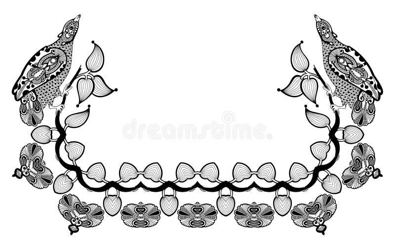 Dekorativ blom- och fågelramdesign vektor illustrationer
