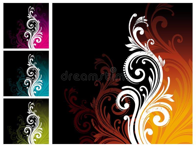dekorativ blom- prydnad royaltyfri illustrationer