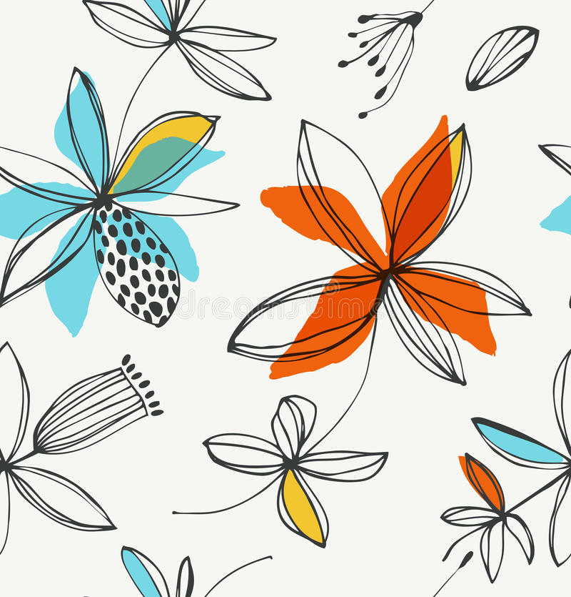 Dekorativ blom- seamless modell royaltyfri illustrationer