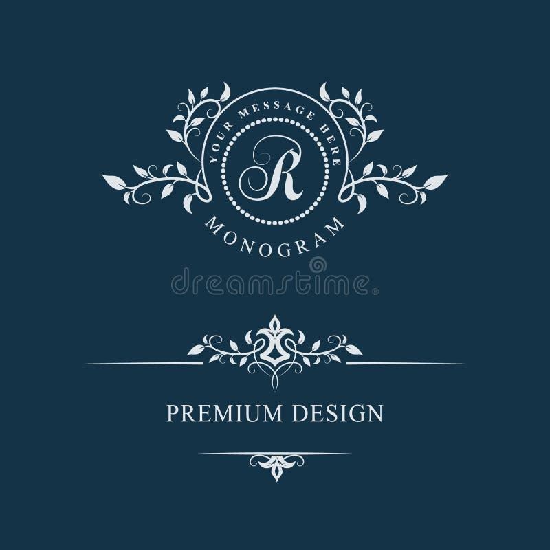 Dekorativ blom- tappningmonogram Uppsättning av Calligraphic Logo Templates Bokstavsemblemtecken R Designsida Grafisk lyxig ram,  stock illustrationer
