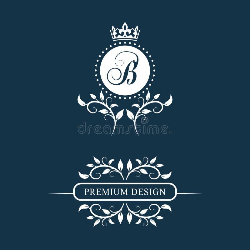 Dekorativ blom- tappningmonogram Uppsättning av Calligraphic Logo Templates Emblemtecken Designsida Grafisk lyxig ram, gräns ST royaltyfri illustrationer