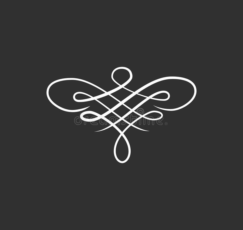 Dekorativ blom- virvelmodell Kalligrafidesignbeståndsdel Hälsningkort, bröllopinbjudan Dekorativ dekor för tappning vektor stock illustrationer