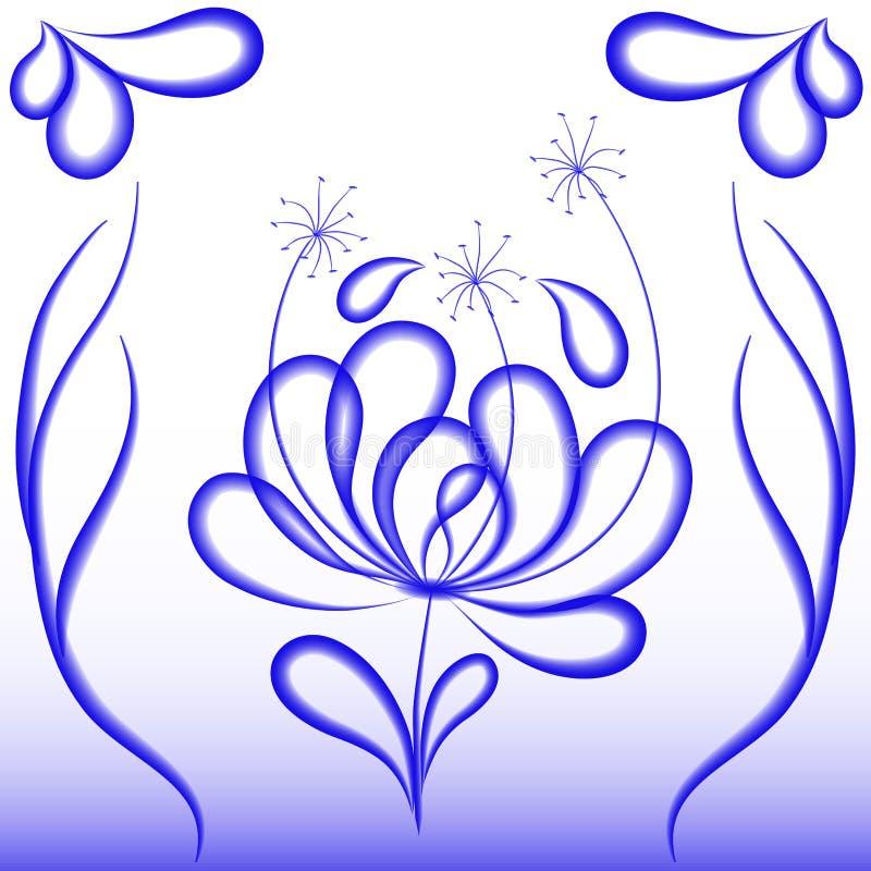 Dekorativ blomma i blåa signaler royaltyfri illustrationer