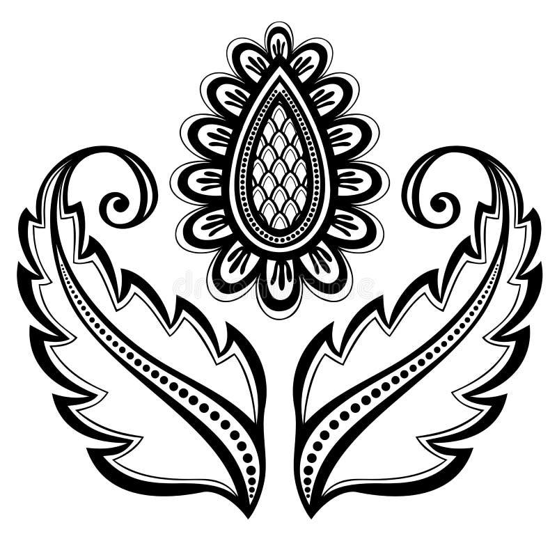 Dekorativ blomma med sidor royaltyfri illustrationer