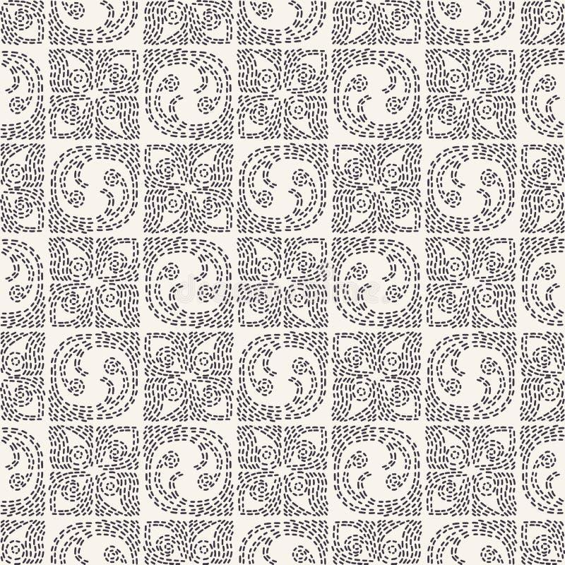 Dekorativ broderimodell för rinnande häftklammer Sömlös vektorbakgrund för rundat fyrkantigt handarbete Utdragen dekorativ textil stock illustrationer