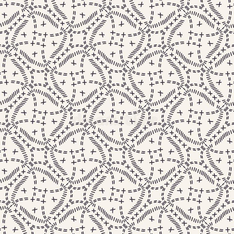 Dekorativ broderimodell för rinnande häftklammer Sömlös vektorbakgrund för rundat fyrkantigt handarbete Utdragen dekorativ textil vektor illustrationer