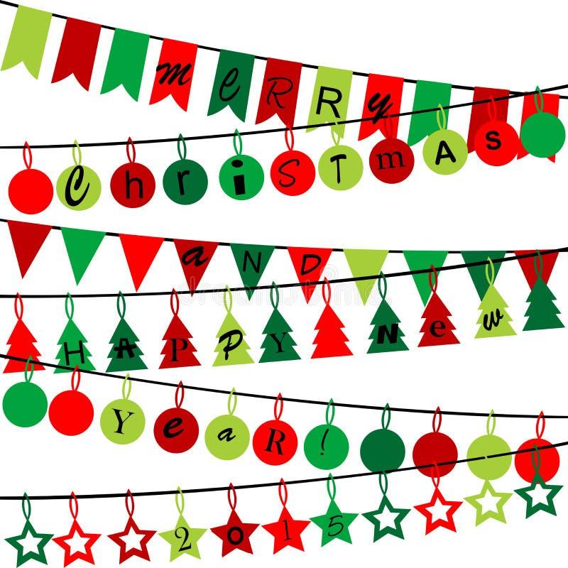 Dekorativ bunting med glad jul och det lyckliga nya året 2015 royaltyfri illustrationer